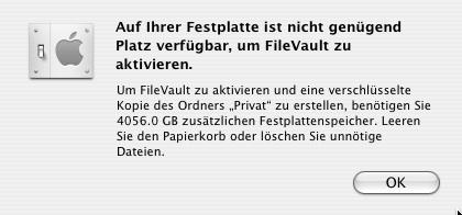 Plattenplatz für Filefault